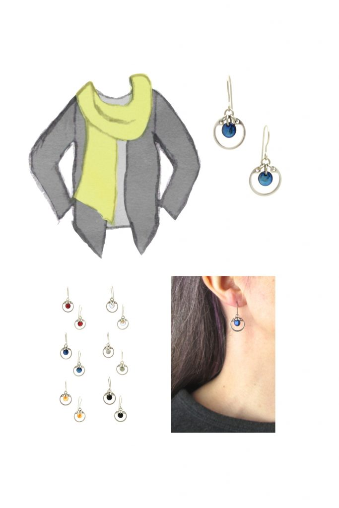 Compiled image with a style sketch of an outfit idea, with a light gray tee, dark grey cardigan, & chartreuse green scarf, with Wraptillion's small modern circle earrings in navy blue, a closeup modeled photo of the same earrings, and additional color choices for the small circle earrings.