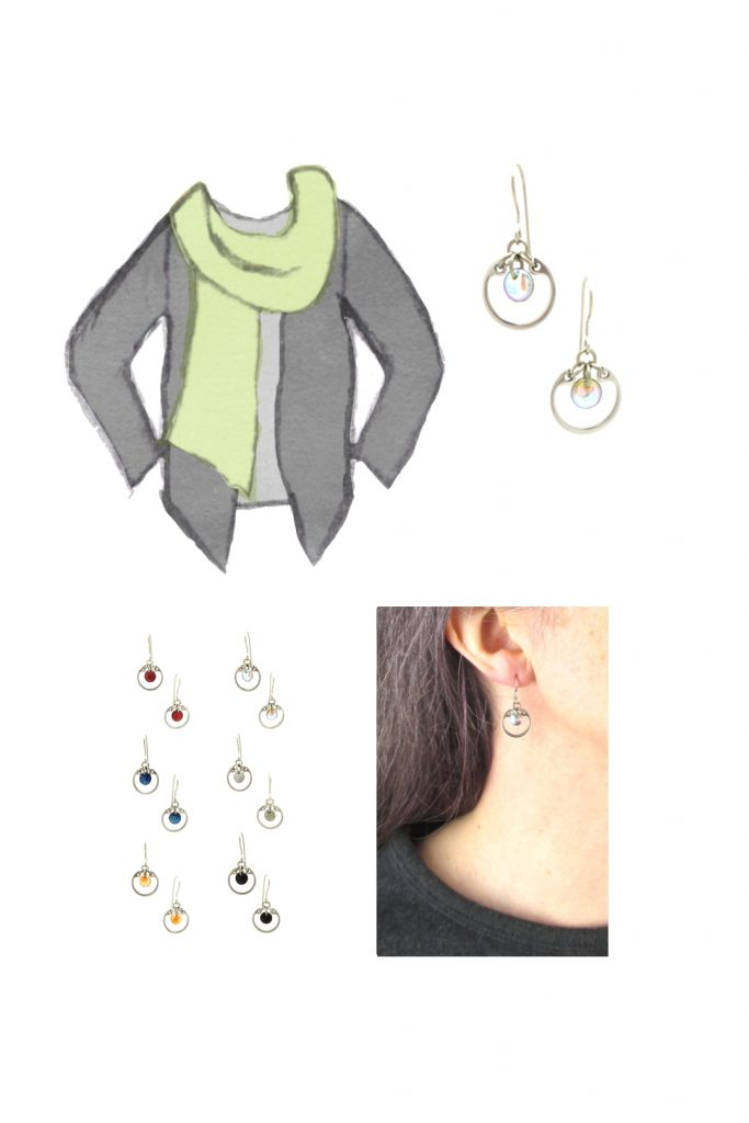 Compiled image with a style sketch of an outfit idea, with a light gray tee, dark grey cardigan, & celadon green scarf, with Wraptillion's small modern circle earrings in pale rainbow, a closeup modeled photo of the same earrings, and additional color choices for the small circle earrings.