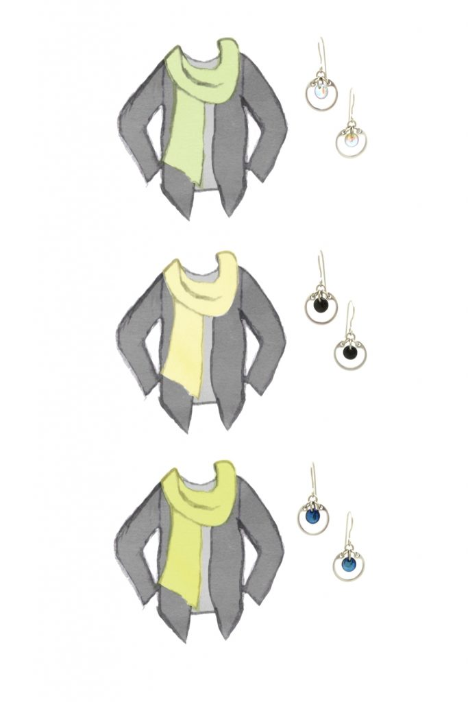 3 style sketches: a light gray tee & dark grey cardigan with celadon green, pale yellow, or chartreuse scarf, with Wraptillion's modern small circle earrings in pale rainbow, black, and navy blue.