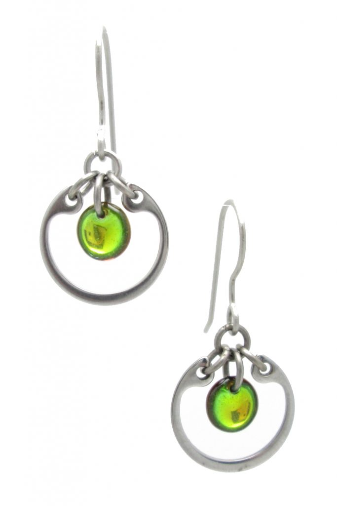 Wraptillion's modern small circle earrings in limited seasonal color chartreuse green.