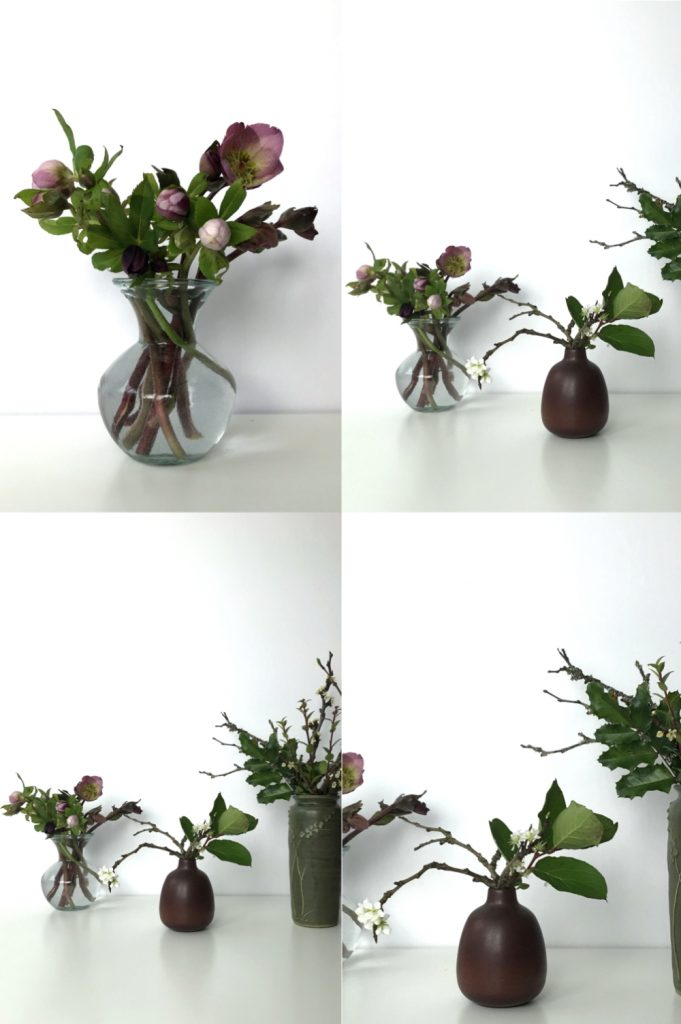 Four images showing small casual winter flower arrangements: pink hellebores in a glass vase, flowering plum branches and salal leaves in a brown bud vase, plum branches, mahonia, and huckleberry leaves in a green vase.