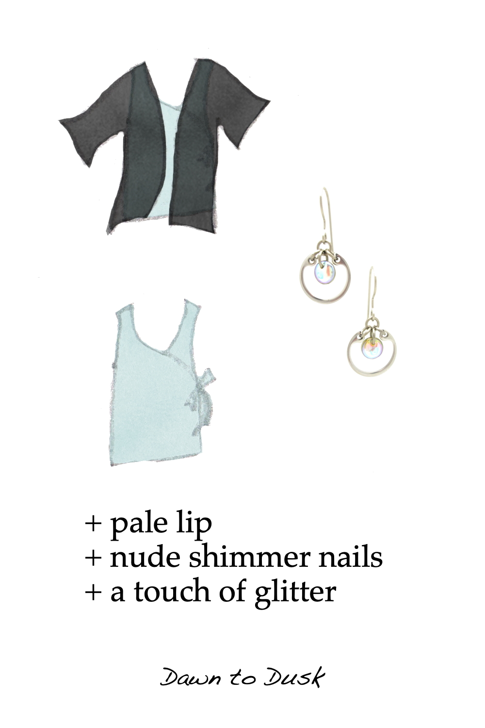 Style sketches of a light blue sleeveless wrap top, shown with and without a lightweight black cardigan, combined with a photo of Wraptillion's small modern circle earrings in pale rainbow. Text on image reads: + pale lip + nude shimmer nails + a touch of glitter; Dawn to Dusk.