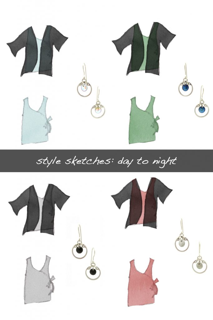 Four style sketches of a sleeveless wrap top in light blue, green, rose pink, and gray, shown with and without a lightweight black cardigan, combined with Wraptillion's small modern circle earrings in pale rainbow, navy blue, black, and grey. Text on image reads: style sketches: day to night.