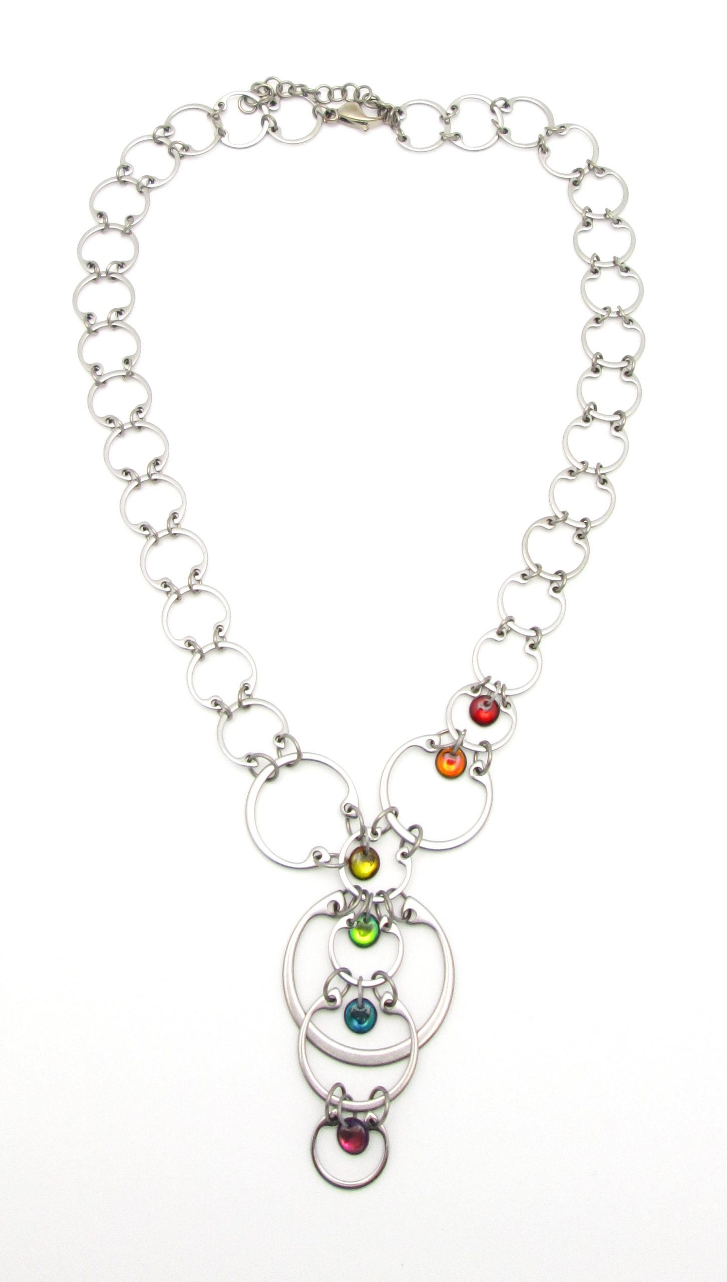 Wraptillion's Cascading Rainbow Circles Necklace, from the Industrial Glass Rainbows modern jewelry collection