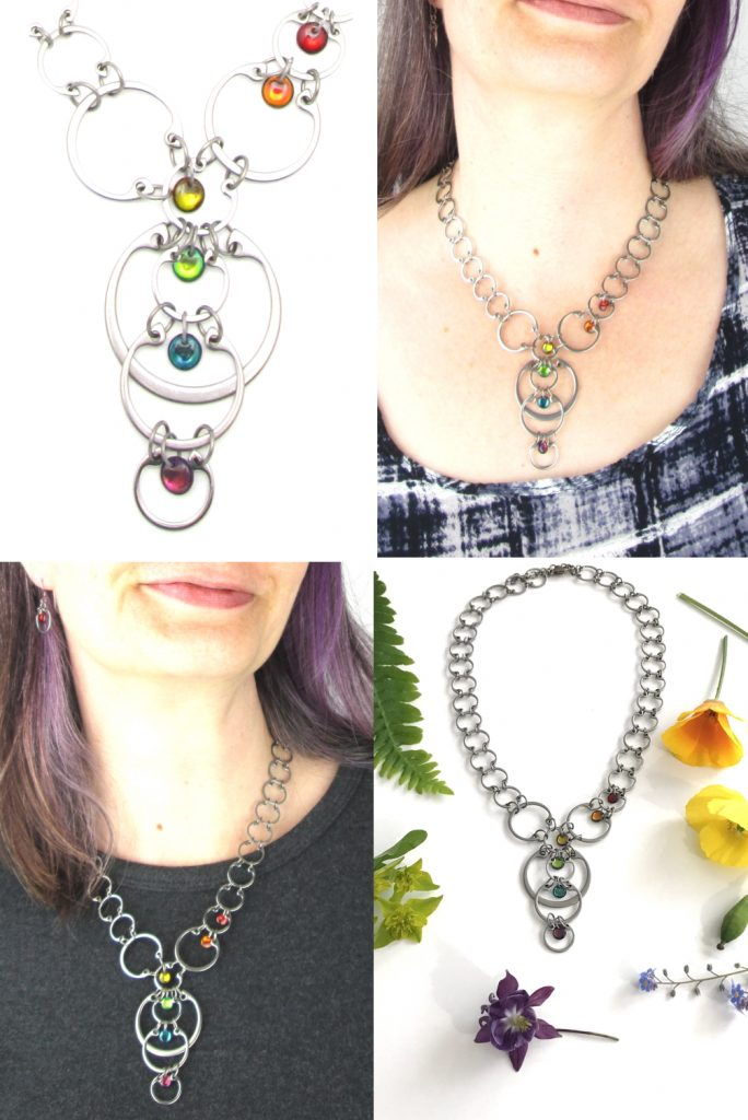 4 photos of Wraptillion's Cascading Rainbow Circles Necklace compiled to form a grid: detail, cropped modeled image with black & white top, cropped modeled image with dark gray top, flatlay with a rainbow of flowers.