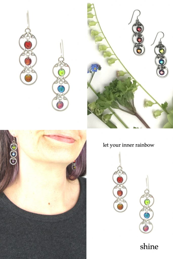 4 photos of Wraptillion's Tripled Rainbow Earrings form a grid, including a close cropped modeled photo and a photo with blue and green flowers. Text on image reads: let your inner rainbow shine