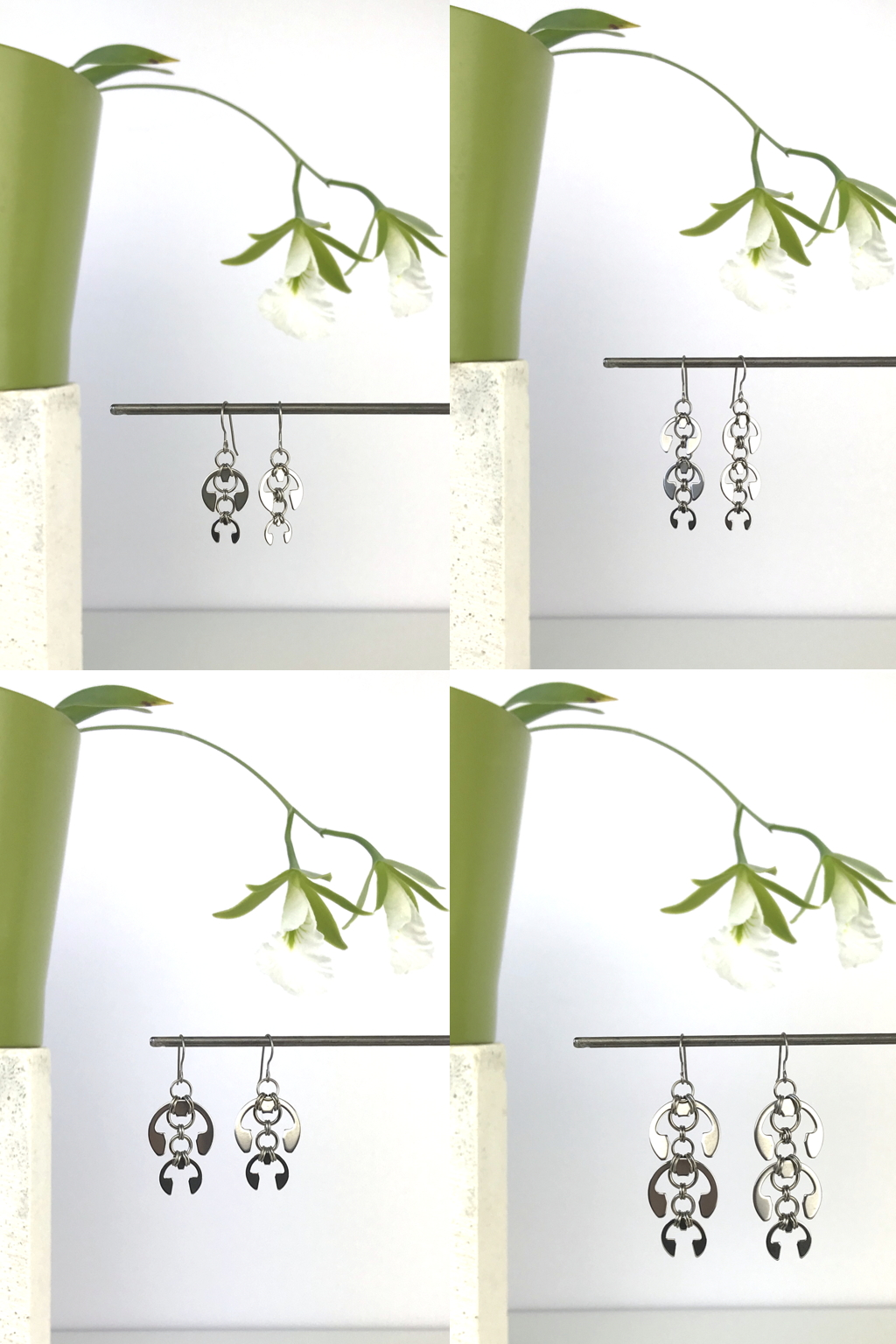 Compiled image of 4 photos featuring Wraptillion's Short and Long Fuchsia Earrings, Hops Earrings, and Laburnum Earrings with blooming orchid Encyclia mariae in a green cachepot.