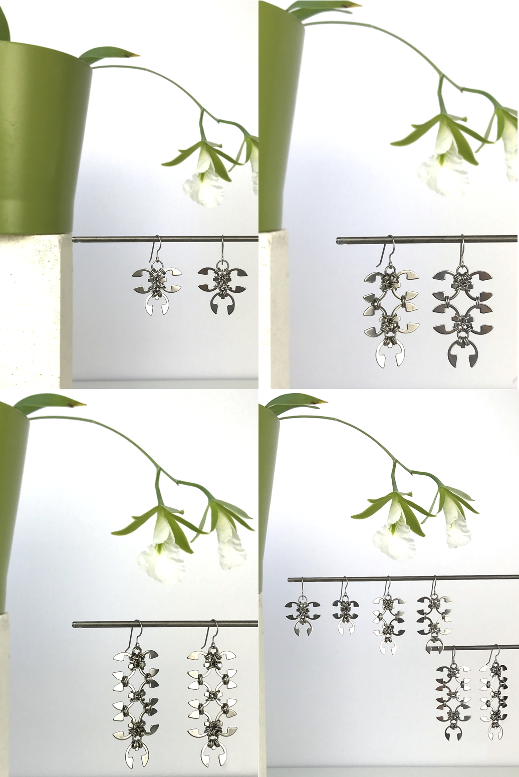 Compiled image of 4 photos, featuring Wraptillion's Ivy Earrings, Short Wisteria Earrings, and Long Wisteria Earrings with blooming orchid Encyclia mariae.