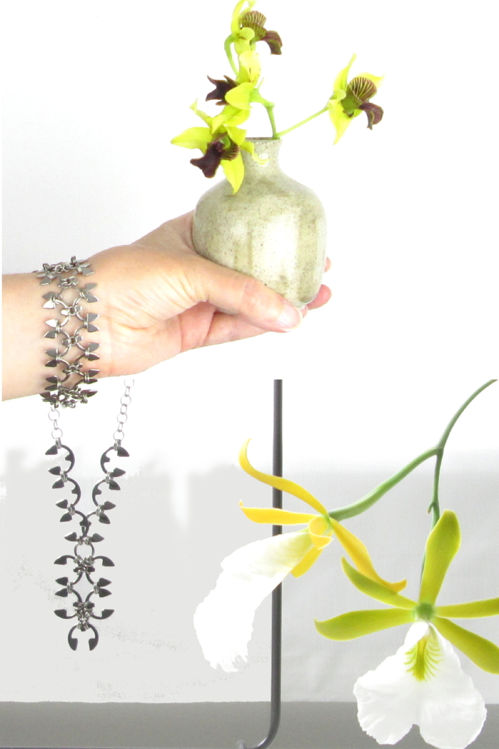 Compiled image: a hand holding a ceramic bud vase of green orchids wears Wraptillion's Wisteria Bracelet, above the Delicate Wisteria Necklace on a jewelry stand, next to another blooming orchid.