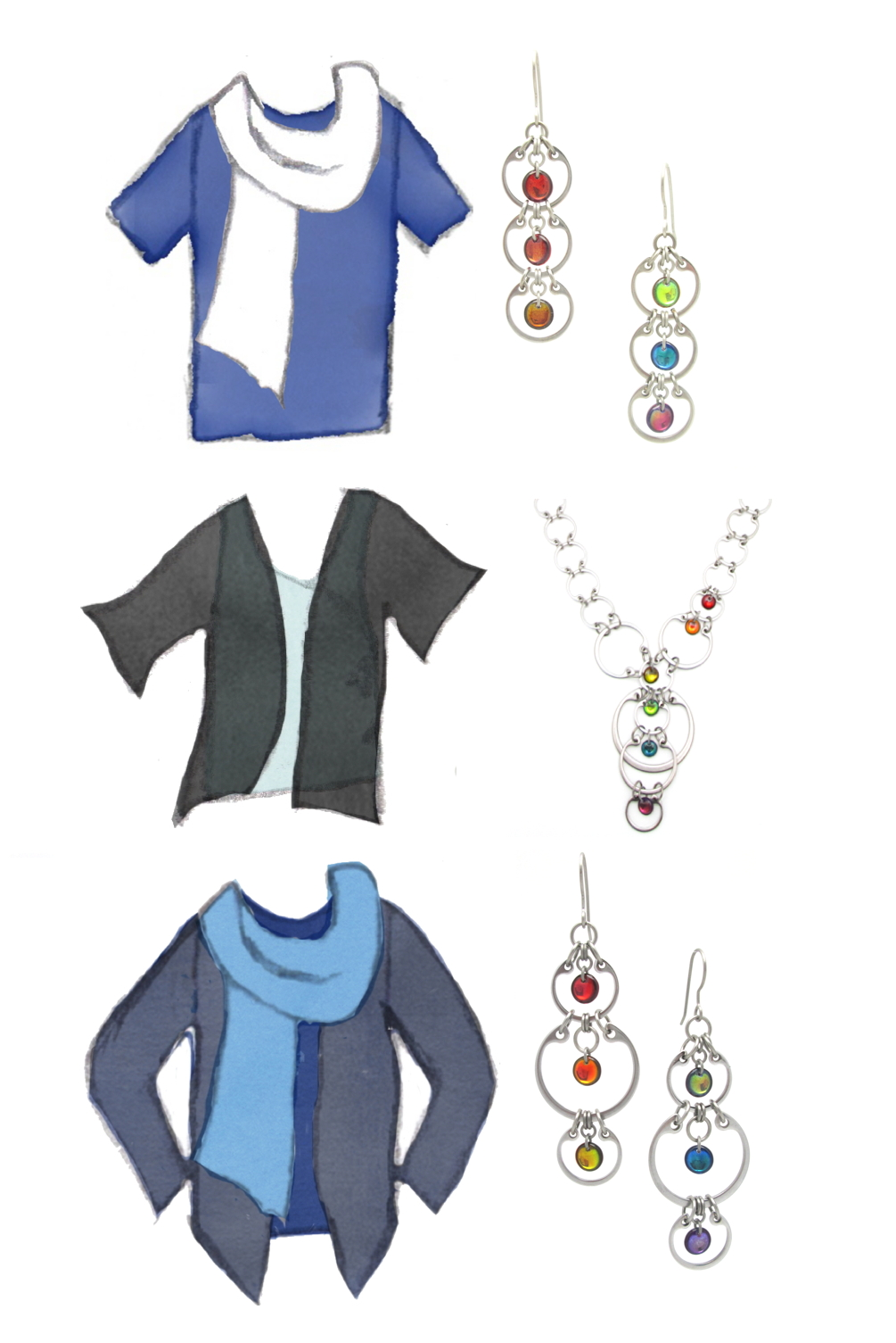 three style sketches combine blue, white, and black tops and scarves with photos of Wraptillion's Tripled Rainbow Earrings, Cascading Rainbow Necklace, and Alternating Rainbow Earrings.
