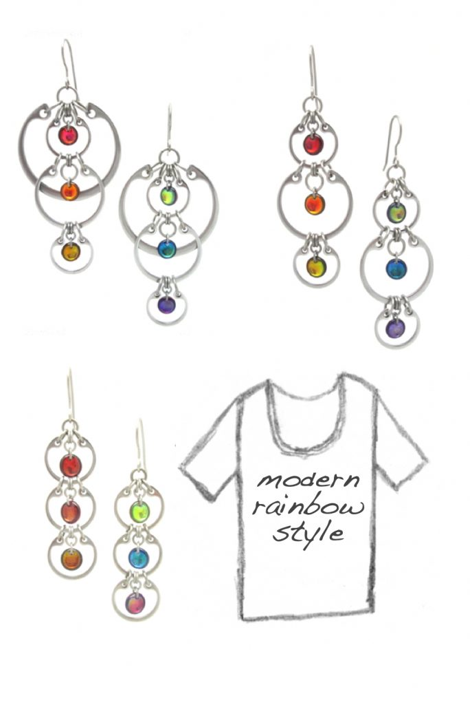 """Photos of Wraptillion's modern linked circles earrings with rainbow glass, including the Cascading Rainbow Earrings, Alternating Rainbow Earrings, and Tripled Rainbow Earrings, with a pencil sketch of a scoop-neck tee that reads """"modern rainbow style."""""""