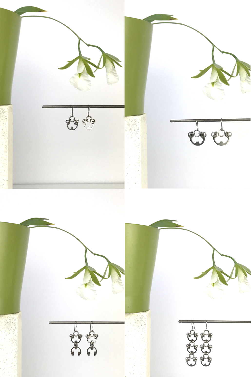 Compiled image of 4 photos featuring Wraptillion's Small and Large Poppy Earrings, Scarab Earrings, and Lotus Earrings with blooming orchid Encyclia mariae in a green cachepot.