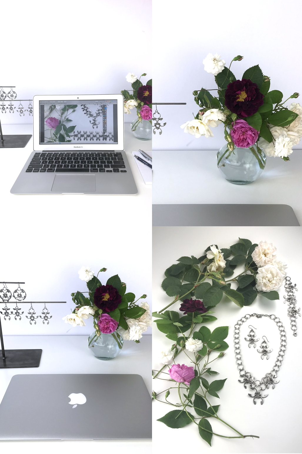 Compiled image of flowers on a desk workspace, featuring a laptop and a small arrangement of old roses (Rosa alba, Rosa gallica officinalis, moss rose 'Capitaine John Ingram', & 'Felicite et Perpetue') with jewelry from the Mechanical Garden collection in Wraptillion's studio.