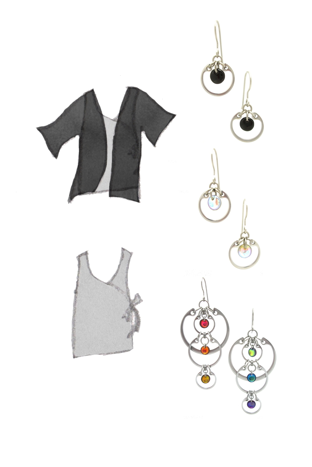 style sketch of a sleeveless gray wrap top with and without a short-sleeve black cardigan, with photos of Wraptillion's Small Circle Earrings in black and pale rainbow, plus the Cascading Rainbow Earrings.