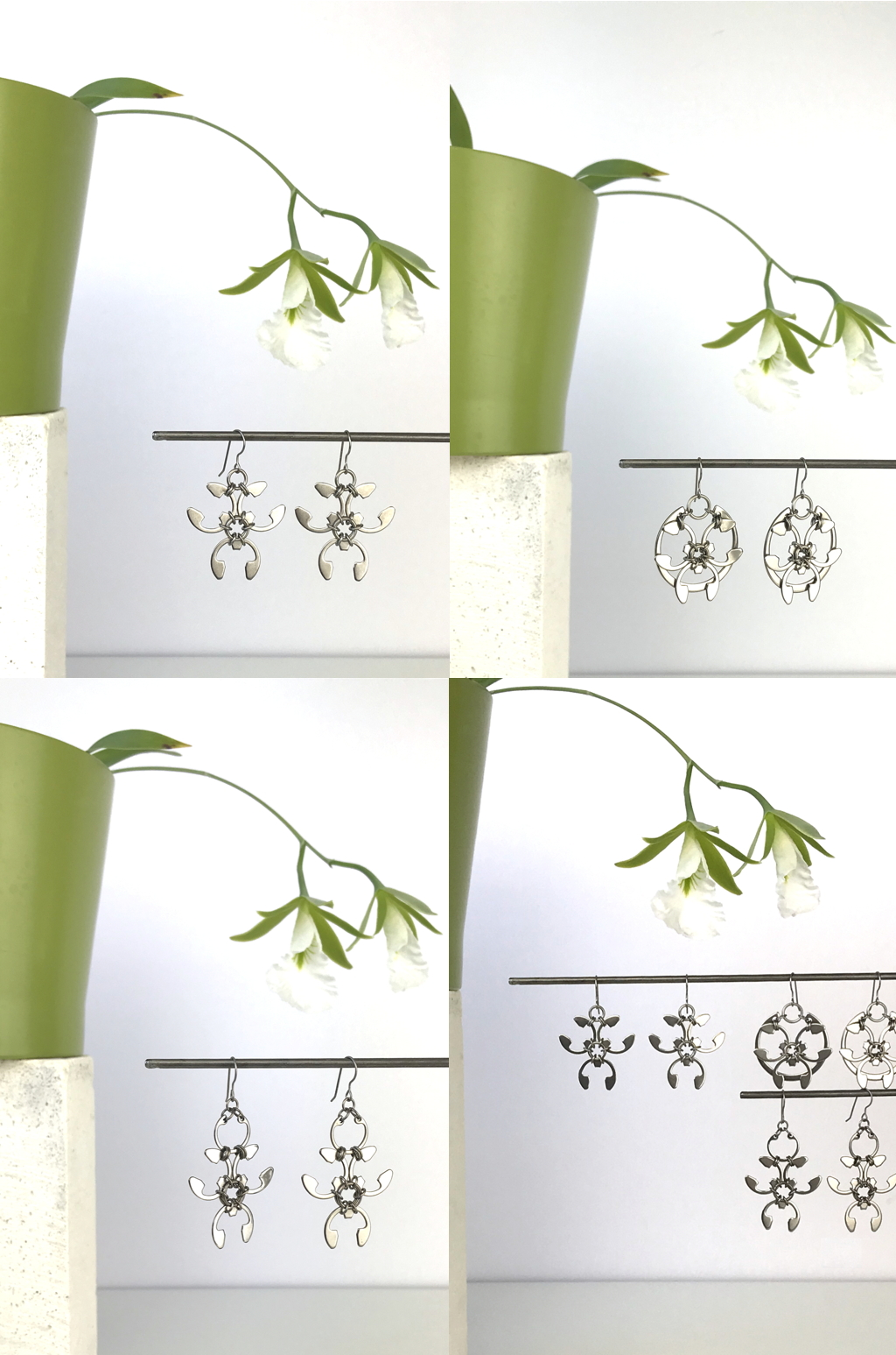 Compiled image of 4 photos featuring Wraptillion's Trellis Earrings, Rose Window Earrings, and Garland Earrings with blooming orchid Encyclia mariae in a green cachepot.