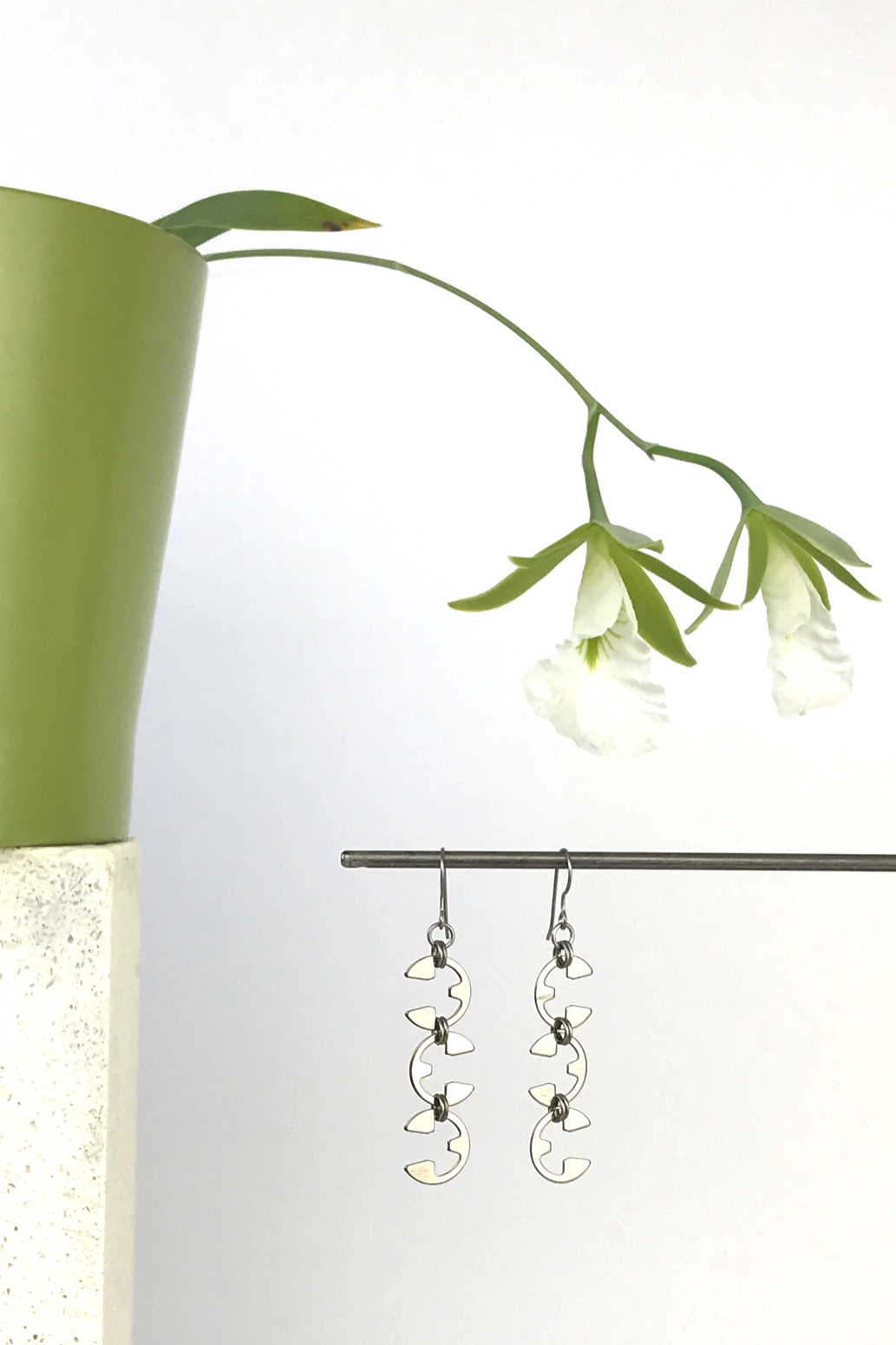 Wraptillion's Vine Earrings with blooming orchid Encyclia mariae.