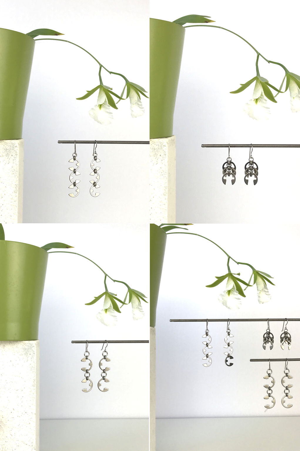Compiled image of 4 photos featuring Wraptillion's Vine Earrings, Fir Cone Earrings, and Tendril Earrings with blooming orchid Encyclia mariae in a green cachepot.