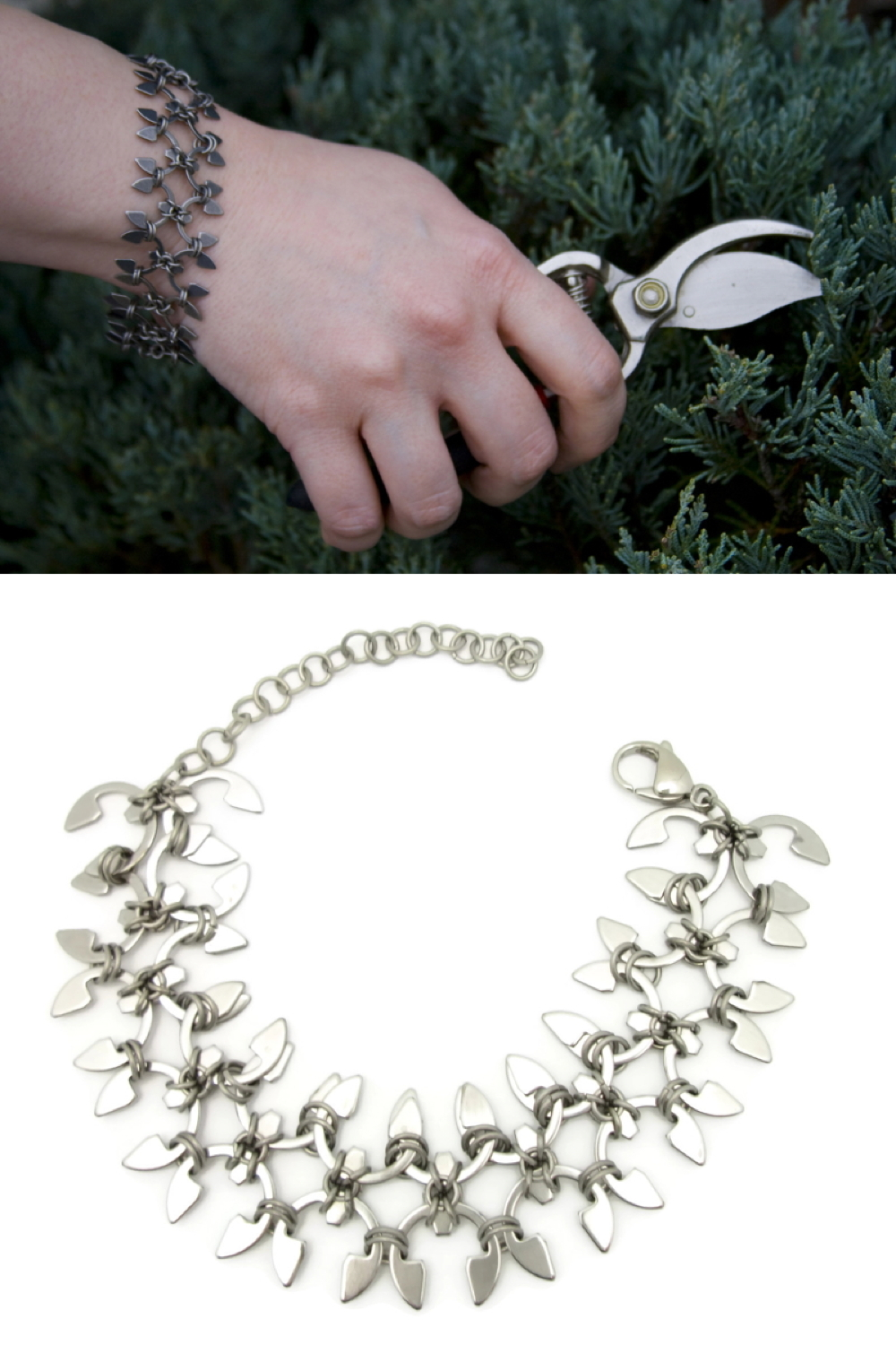 Compiled image: a photo of a hand holding pruners in front of an evergreen, wearing Wraptillion's Wisteria Bracelet, above the bracelet curved into a circle.