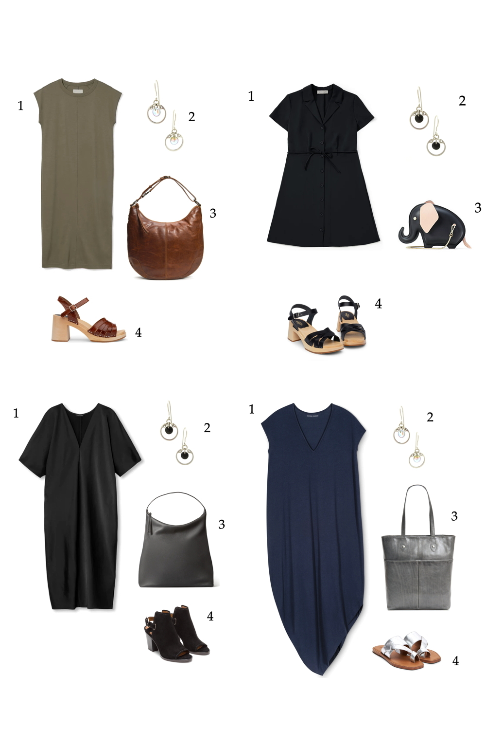 Compiled image of four outfit ideas featuring summer dresses in black, khaki, and navy, with Wraptillion's Small Circle Earrings and other accessories.