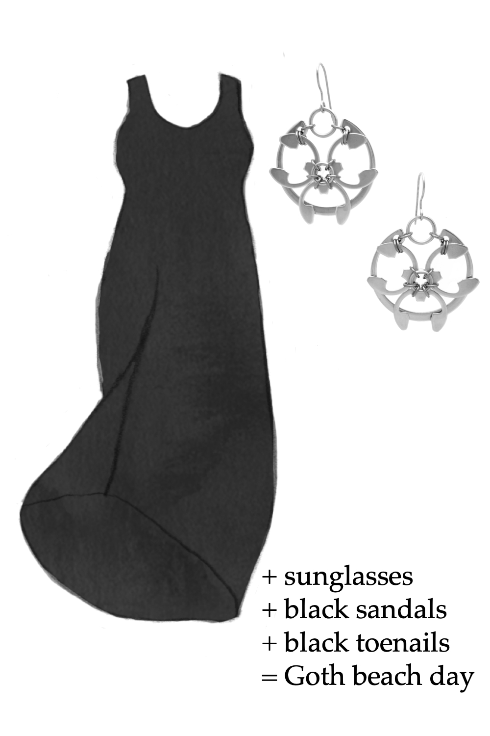Outfit idea featuring a style sketch of the Athena Dress by Universal Standard in black and the Rose Window Earrings by Wraptillion. Text on image reads: + sunglasses + black sandals + black toenails = Goth beach day.