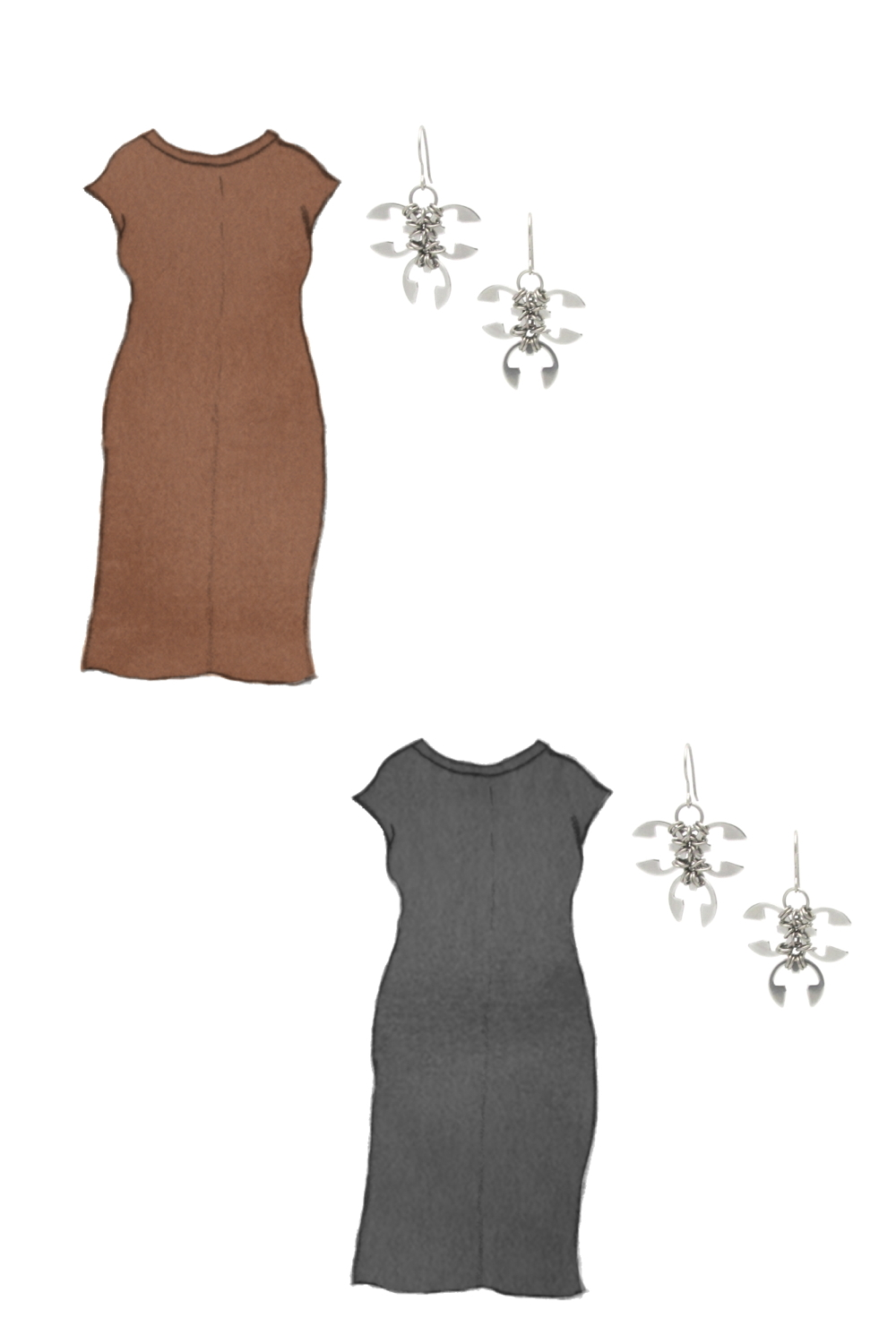 Style sketch of Everlane's Luxe Cotton Side-Slit Tee Dress in black and brown, with Wraptillion's Ivy Earrings (small spiky modern dangles).