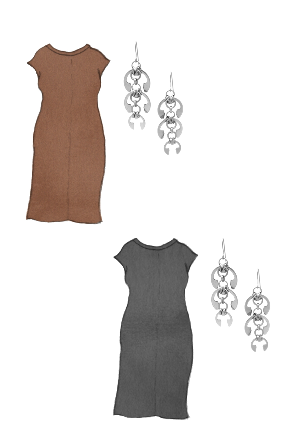 Style sketch of Everlane's Luxe Cotton Side-Slit Tee Dress in black and brown, with Wraptillion's Laburnum Earrings (modern chainmail chandeliers).