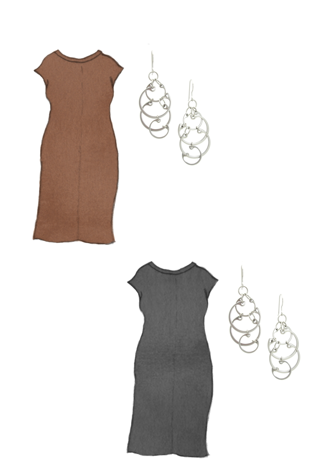 Style sketch of Everlane's Luxe Cotton Side-Slit Tee Dress in black and brown, with Wraptillion's Large Clustered Circles Earrings (modern overlapping circles statement earrings).