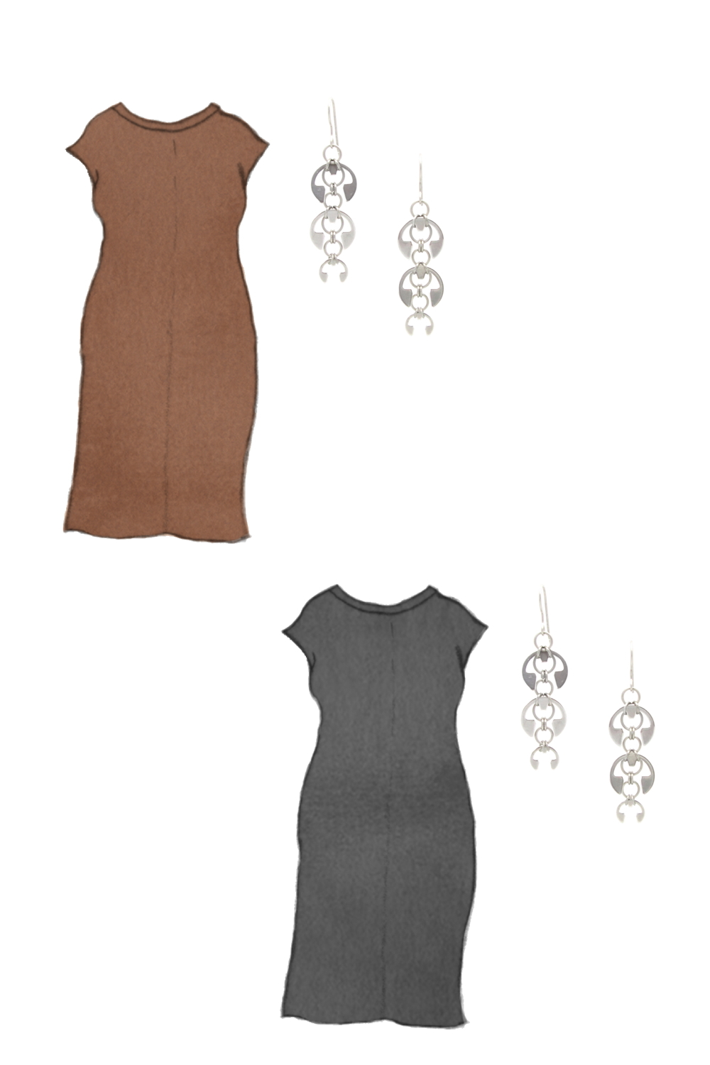 Style sketch of Everlane's Luxe Cotton Side-Slit Tee Dress in black and brown, with Wraptillion's Laburnum Earrings (modern delicate chandeliers).
