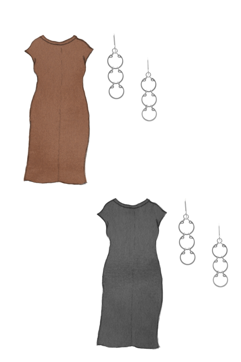 Style sketch of Everlane's Luxe Cotton Side-Slit Tee Dress in black and brown, with Wraptillion's Laburnum Earrings (modern geometric circles dangles).