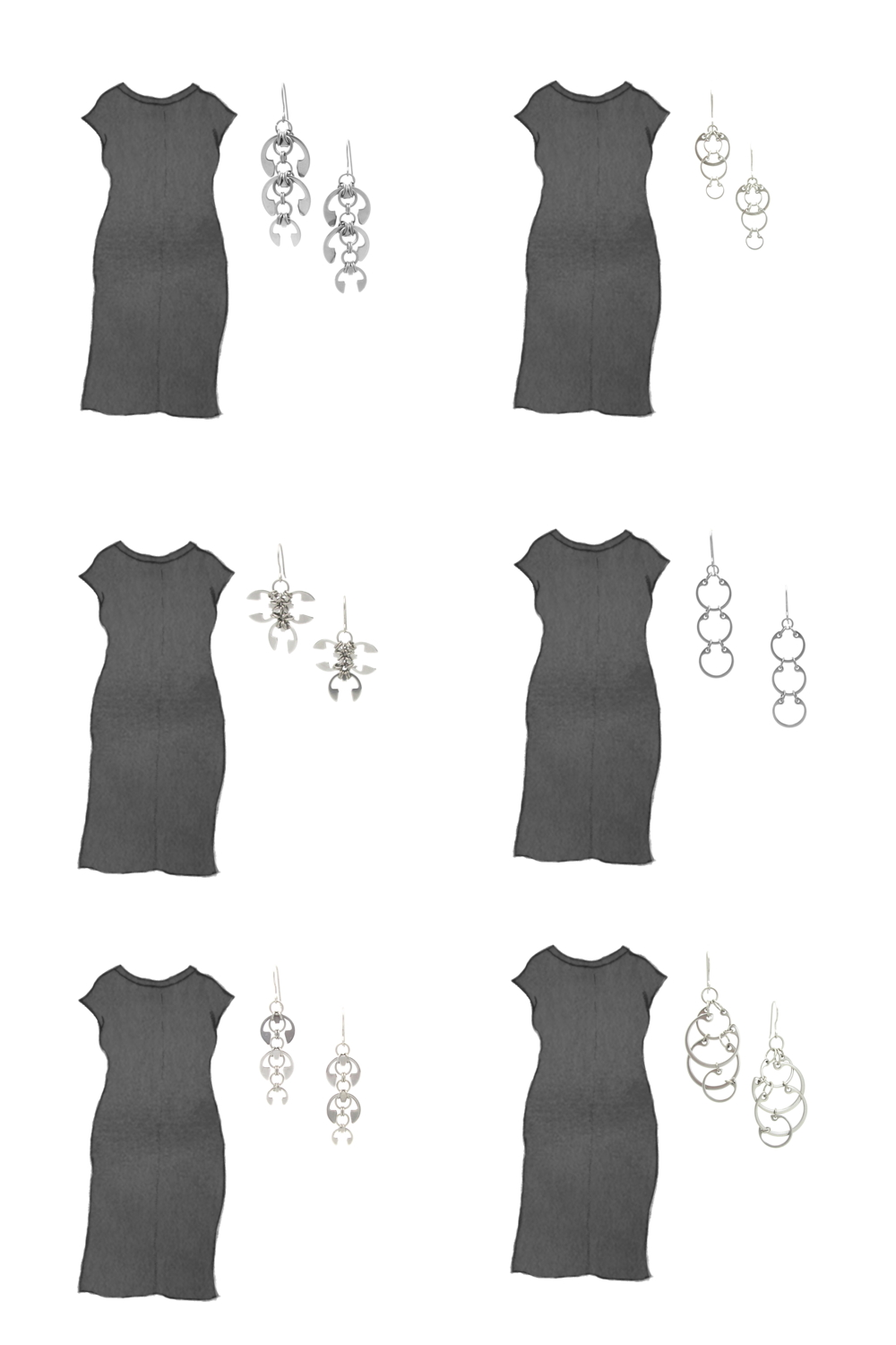 Style sketch of Everlane's Luxe Cotton Side-Slit Tee Dress in black, with 6 styles of Wraptillion's modern chainmail earrings.