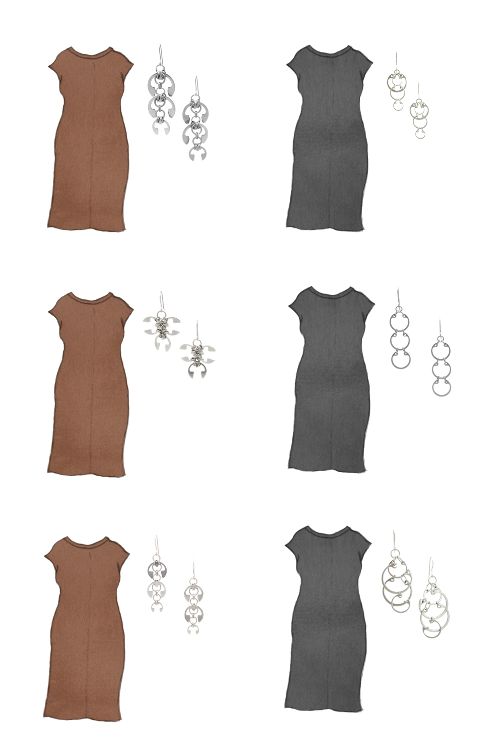 Style sketch of Everlane's Luxe Cotton Side-Slit Tee Dress in brown and black, with 6 styles of Wraptillion's modern chainmail earrings.