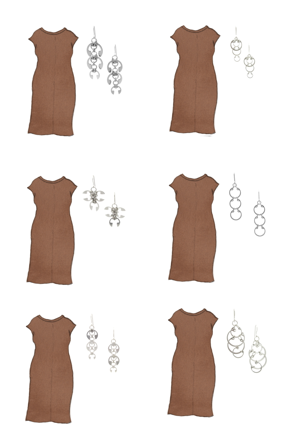 Style sketch of Everlane's Luxe Cotton Side-Slit Tee Dress in brown, with 6 styles of Wraptillion's modern chainmail earrings.