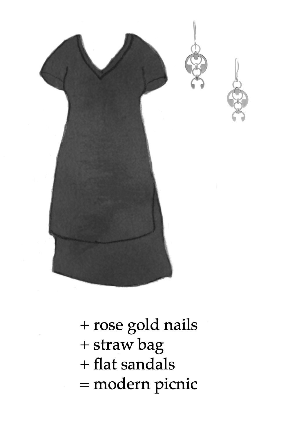 Outfit idea featuring a style sketch of the Tesino Washed Jersey Dress by Universal Standard in black and the Short Fuchsia Earrings by Wraptillion. Text on image reads: + rose gold nails + straw bag + flat sandals = modern picnic.