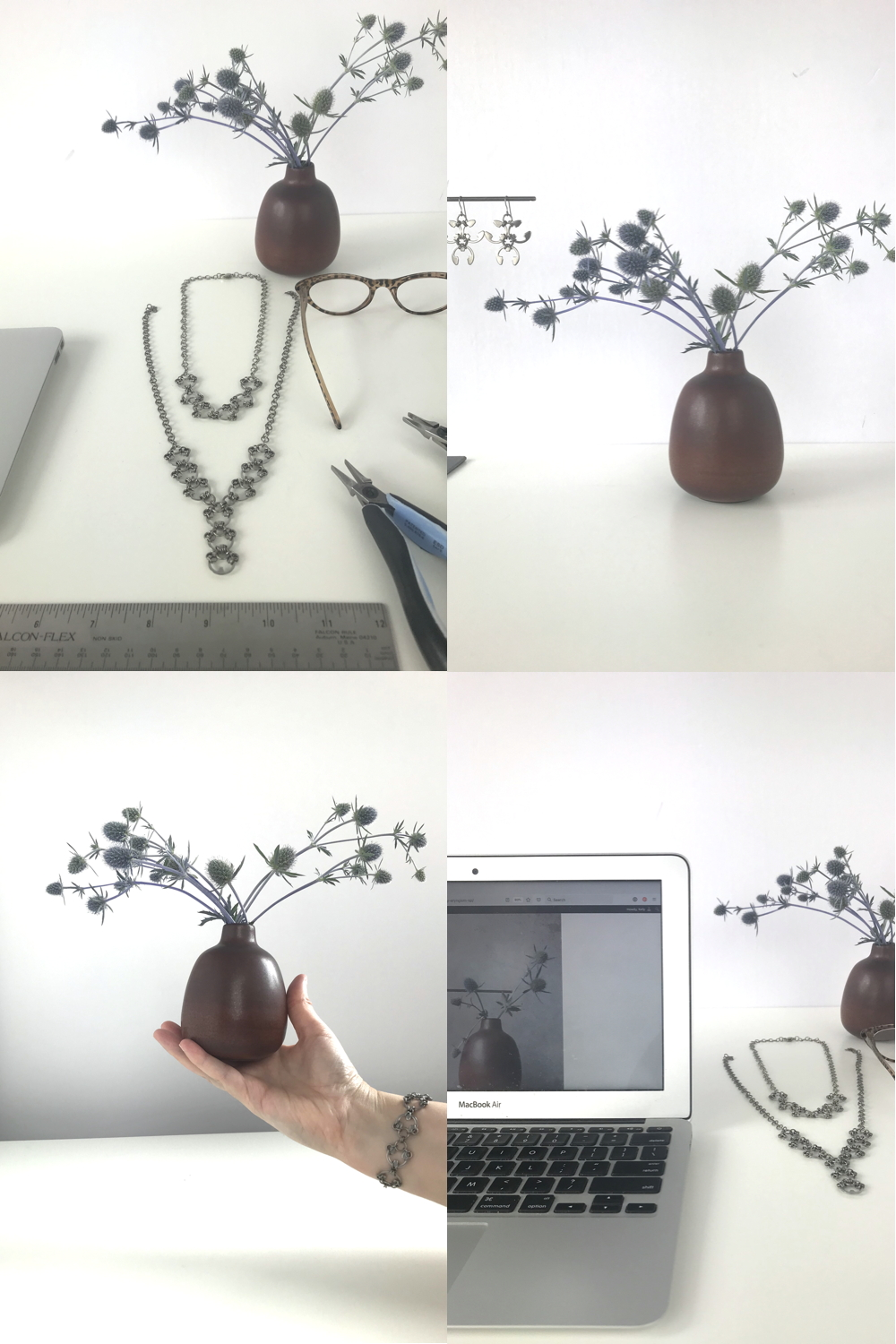 Compiled image of four photos featuring a small floral arrangement of sea holly and Wraptillion's jewelry in the studio.