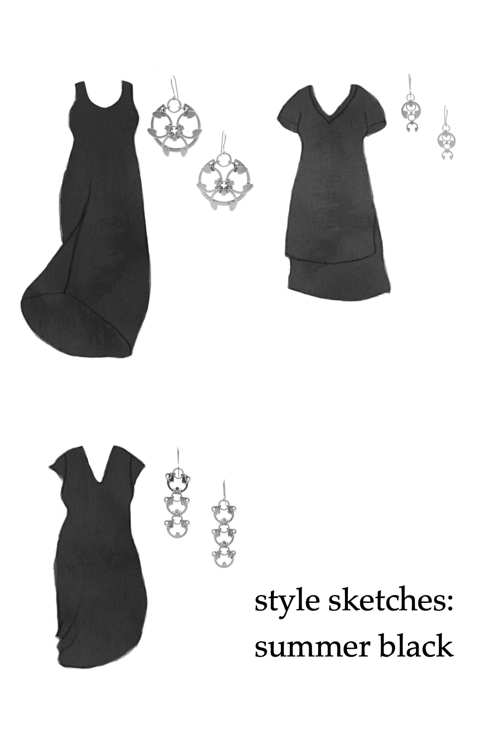 Compilation of three outfit ideas, featuring sketches of knit dresses by Universal Standard and modern floral earrings by Wraptillion. Text on image reads: style sketches: summer black.