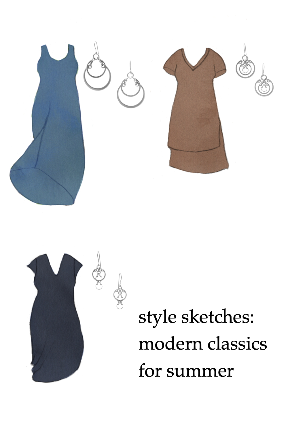 Compilation of three outfit ideas, featuring sketches of knit dresses by Universal Standard in blue, brown, and navy, and modern geometric circle earrings by Wraptillion. Text on image reads: style sketches: modern classics for summer.