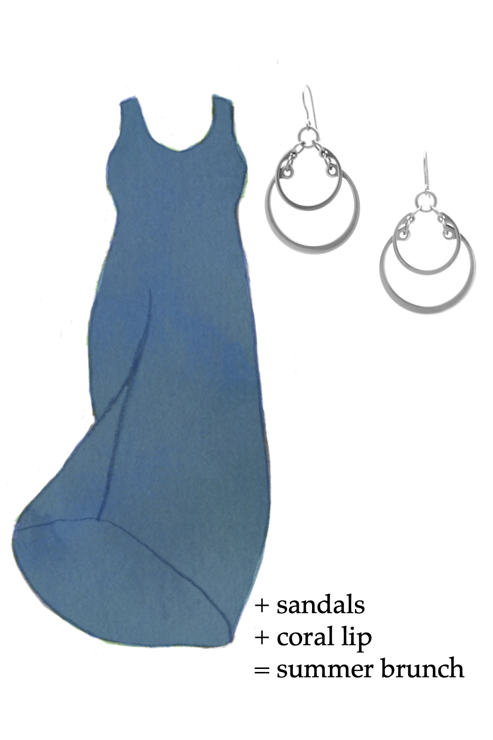 Outfit idea featuring a style sketch of the Athena Dress by Universal Standard in true blue and the Overlapping Graduated Earrings by Wraptillion. Text on image reads: + sandals + coral lip = summer brunch.